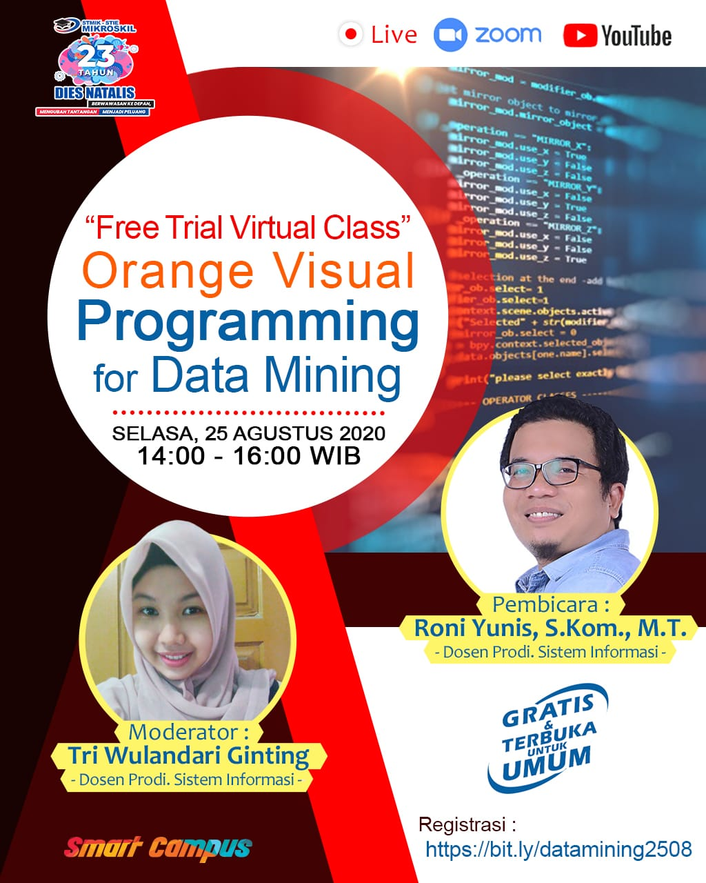 "Poster: Free Trial Virtual Class "" Orange Visual Programming for Data Mining"""